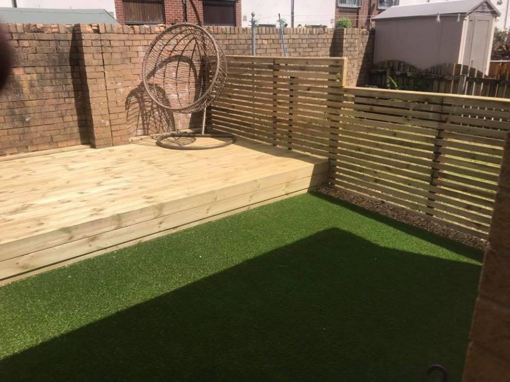 Decking, Grass and Limestone  Path -